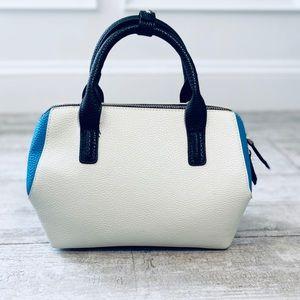 Topshop BLUE OFF WHITE & BLACK color block satchel